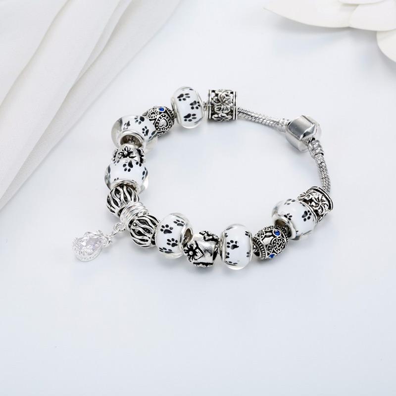 Footprint Charm Beads Bracelet