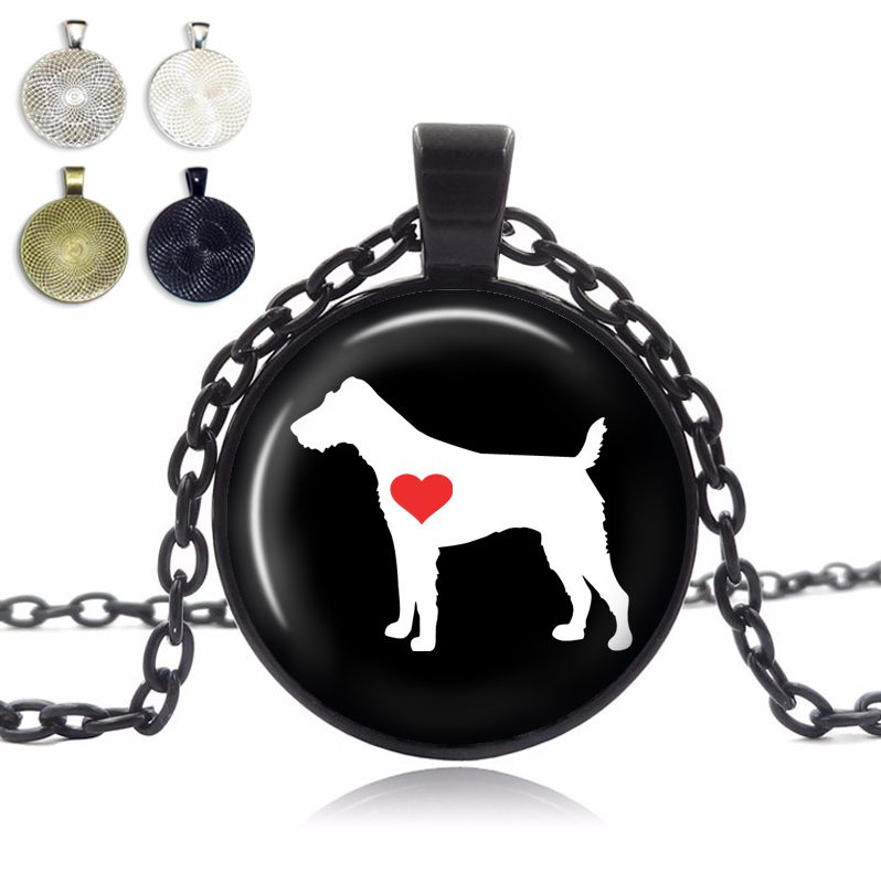 Fox Terrier Love Glass Dome Necklace