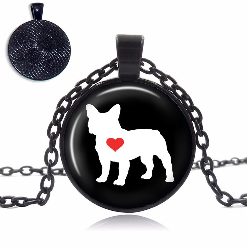 French Bulldog Love Glass Dome Necklace