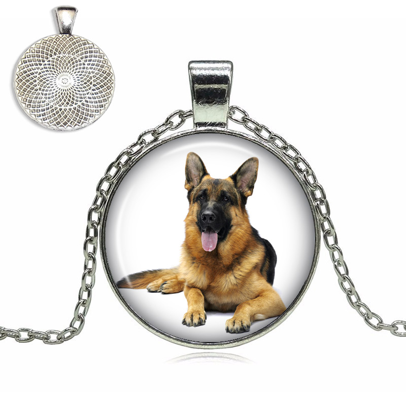 German Shepherd Glass Dome Necklace