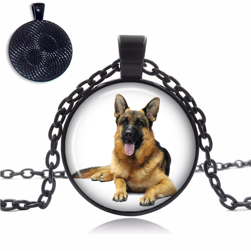 German Shepherd Glass Dome Necklace