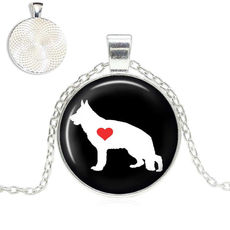 German Shepherd Love Glass Dome Necklace