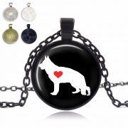 German Shepherd Love Glass Dome Necklace