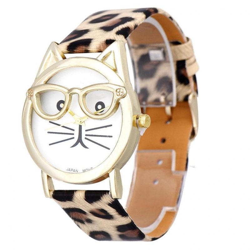 Cat with Glasses Quartz Watch
