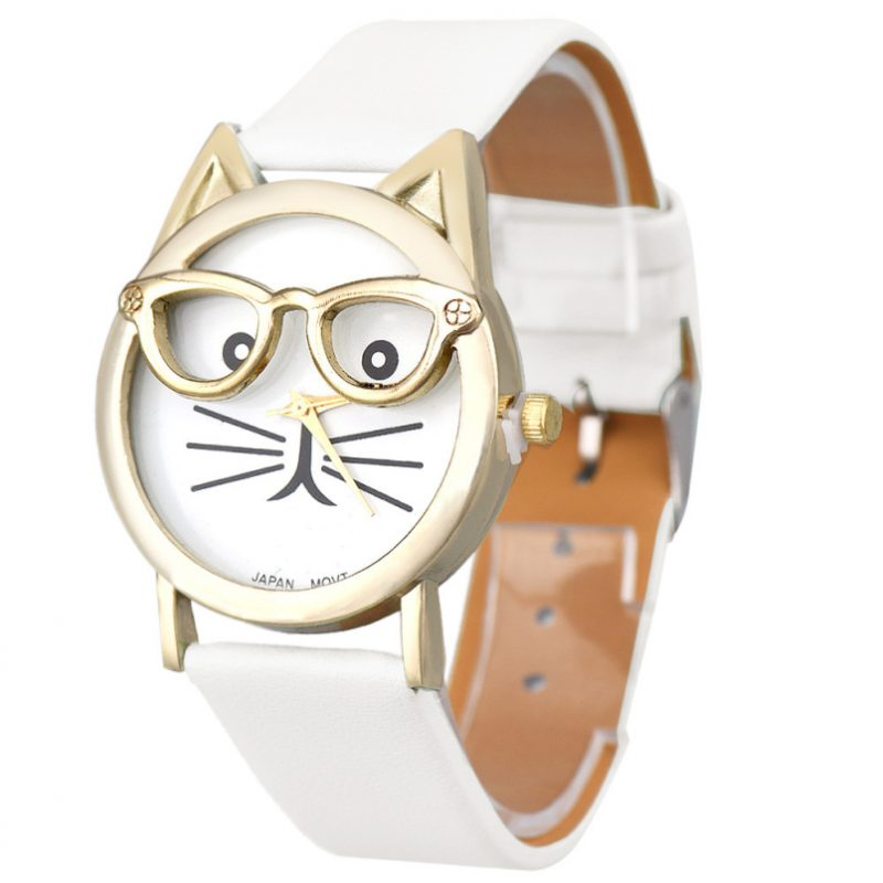 Cat with Glasses Quartz Watch