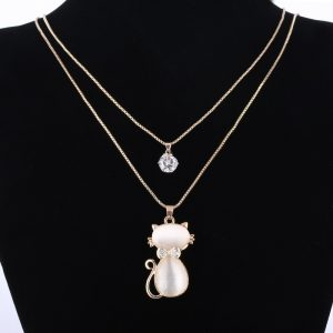 Gold Plated Cat Stone Pendant
