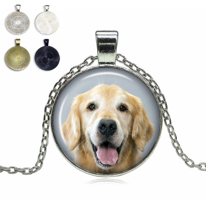 Golden Retriever Glass Dome Necklace