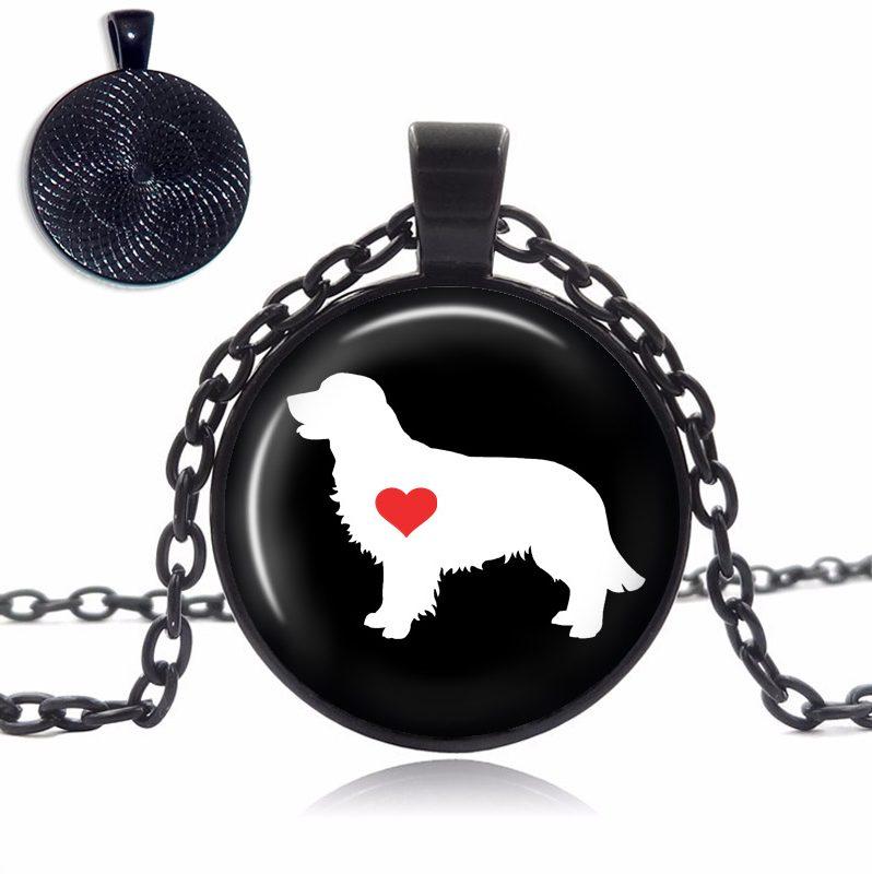 Golden Retriever Love Glass Dome Necklace