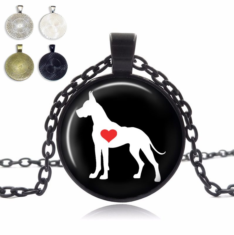 Great Dane Cropped Ears Love Glass Dome Necklace