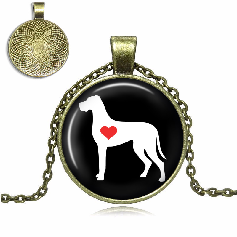 Great Dane Natural Ears Love Glass Dome Necklace