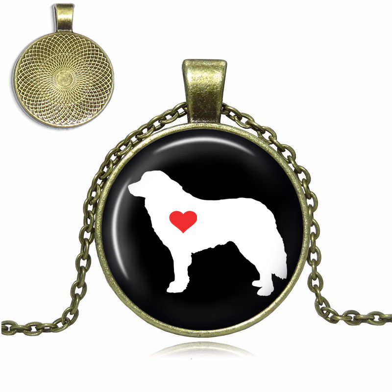 Great Pyrenees Love Glass Dome Necklace
