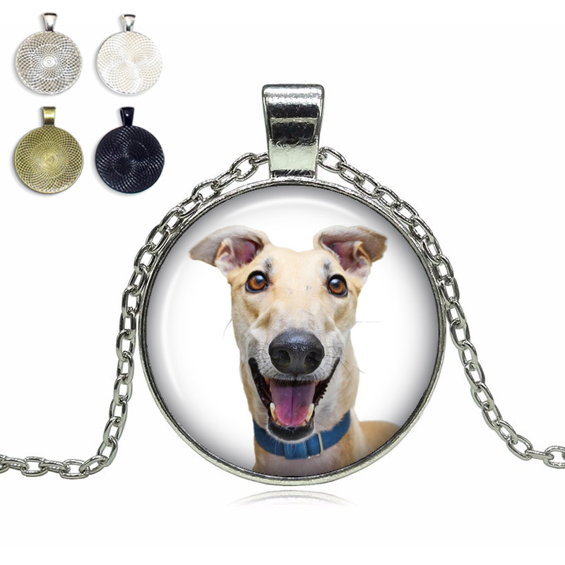 Greyhound Glass Dome Necklace
