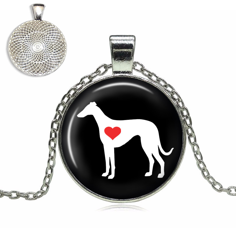 Greyhound Love Glass Dome Necklace