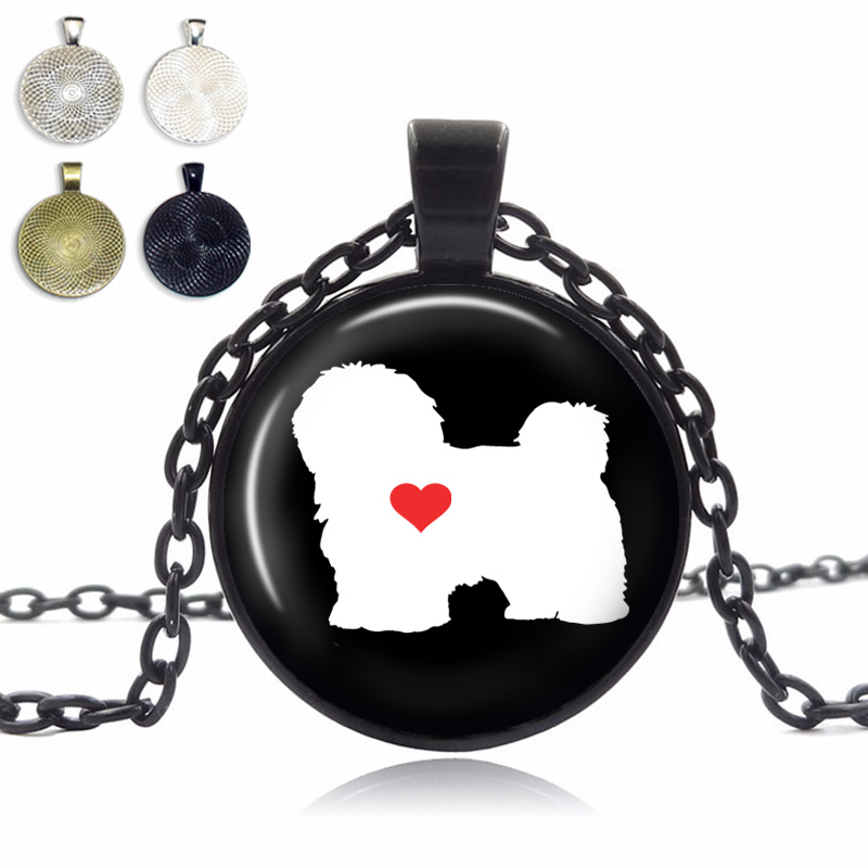 Havanese Love Glass Dome Necklace