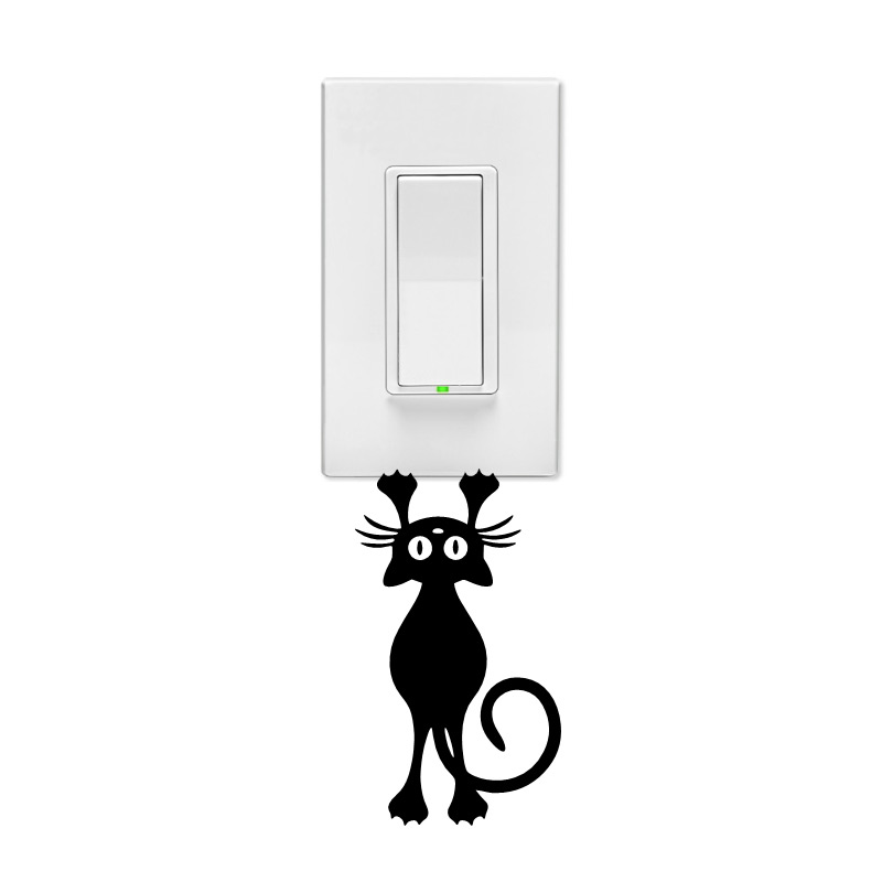 Hanging Kitty Wall Light Switch Decal