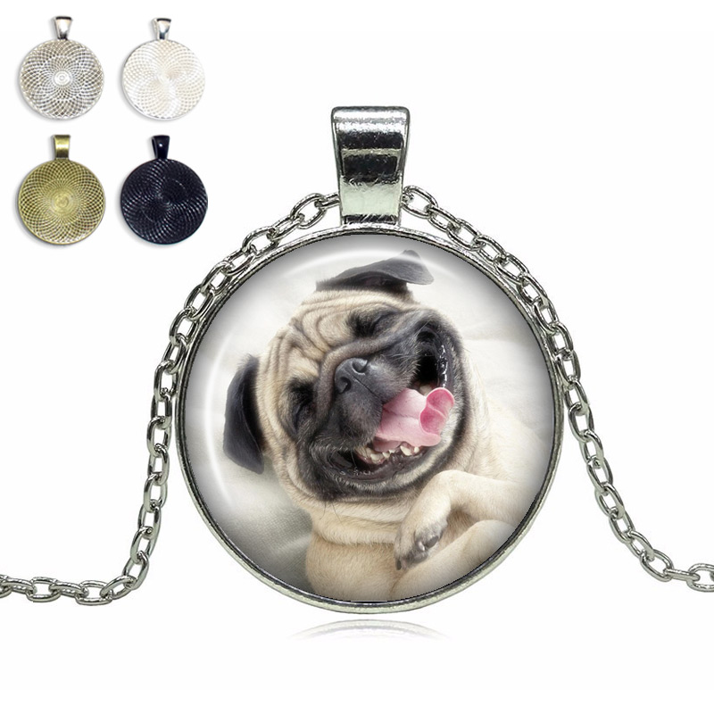 Happy Pug Glass Dome Necklace