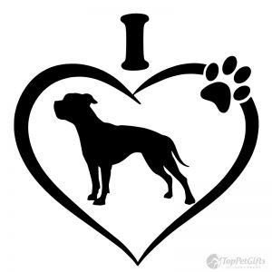 I Love My American Bulldog Decal