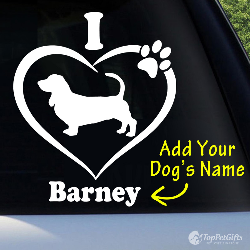 I Love My Basset Hound Decal