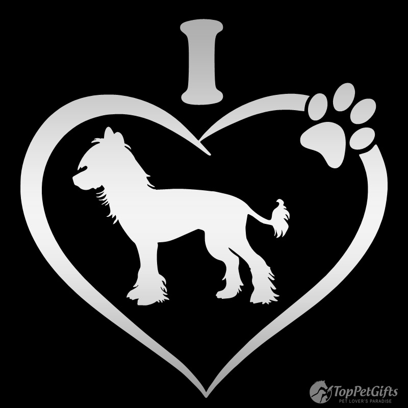 I Love My CHINESE CRESTED Decal