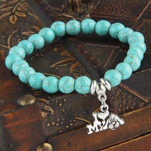 I Love My Dog Turquoise Beaded Bracelet