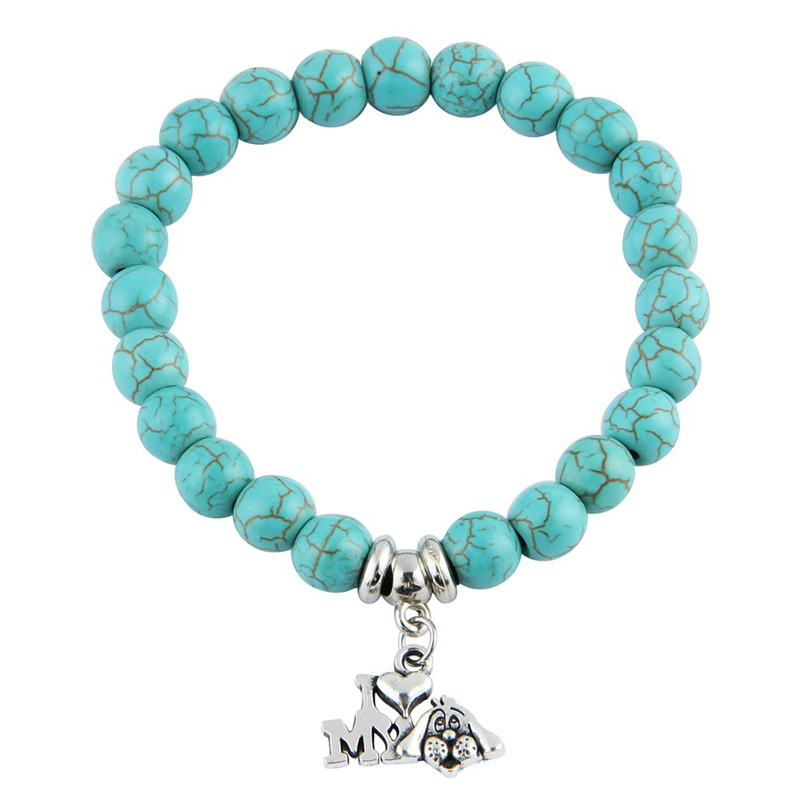 I Love My Dog Turquoise Beaded Bracelet