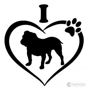 I Love My English Bulldog Decal