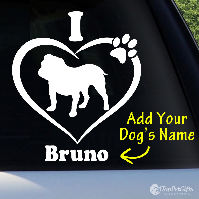 I Love My English Bulldog Decal
