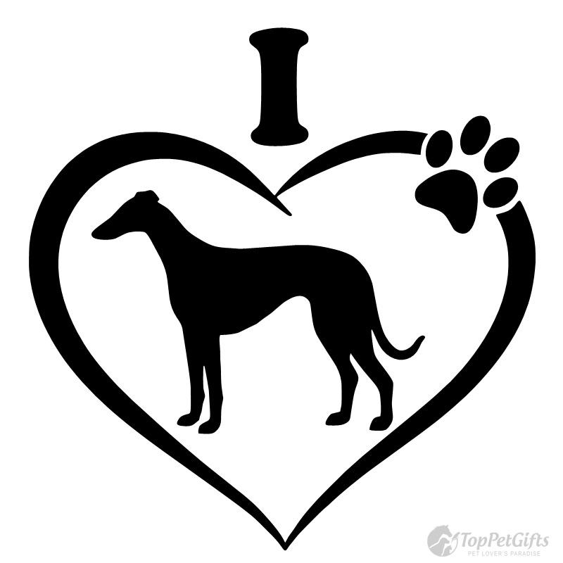 I Love My Greyhound Decal