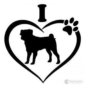I Love My Pug Decal