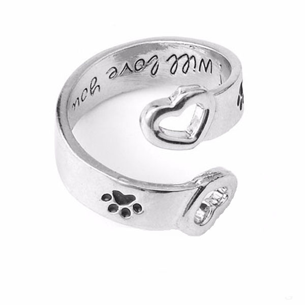 custom personalized memorial dog ring pet paw name rings