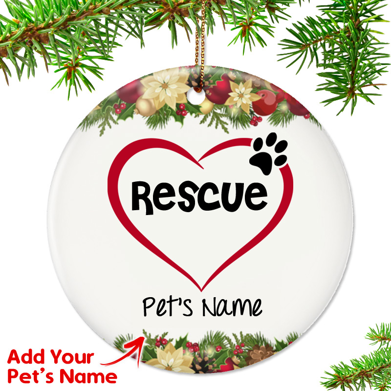 personalized i love my rescue ornament