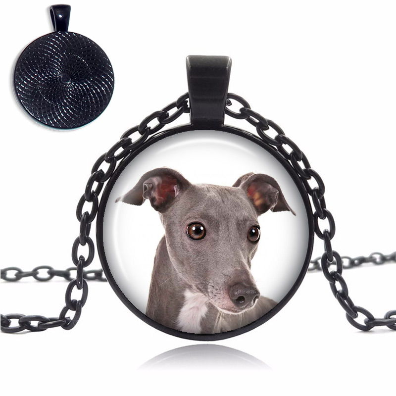Italian Greyhound Glass Dome Necklace