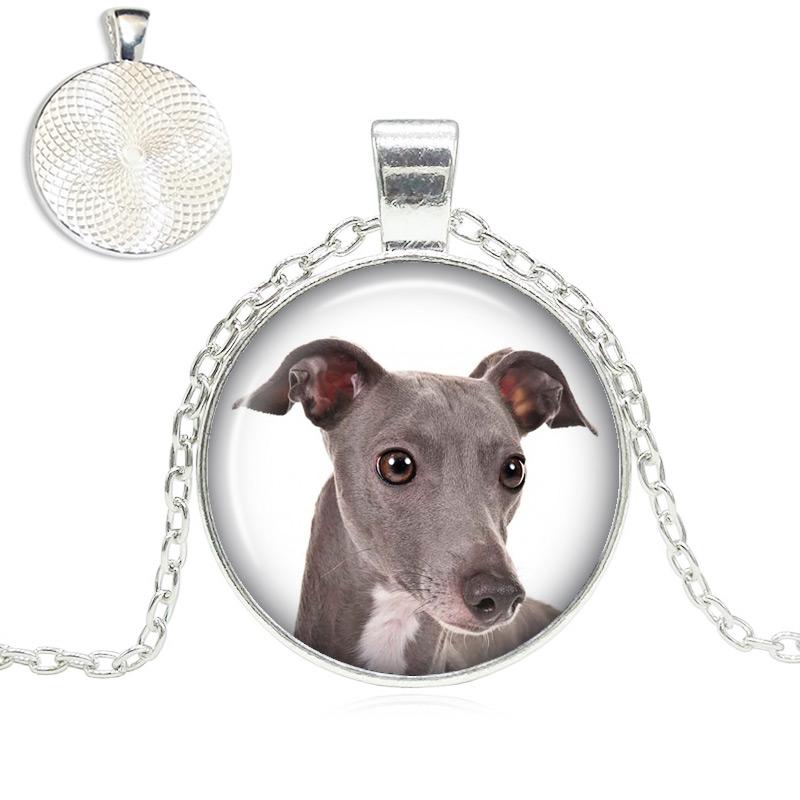 Italian Greyhound Glass Dome Necklace