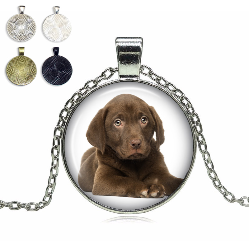 Labrador Puppy Glass Dome Necklace