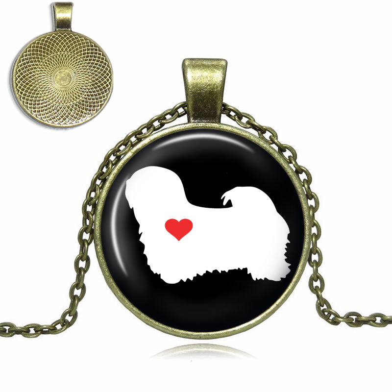 Lhasa Apso Love Glass Dome Necklace