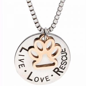 Live.Love.Rescue With Paw Necklace