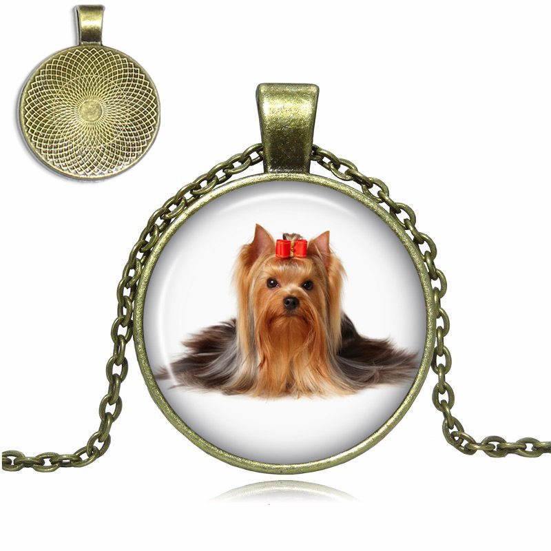 Long Hair Yorkshire Terrier Glass Dome Necklace