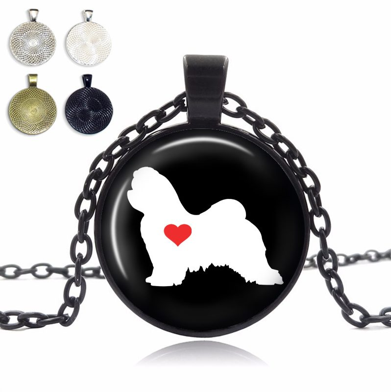 Maltese Love Glass Dome Necklace