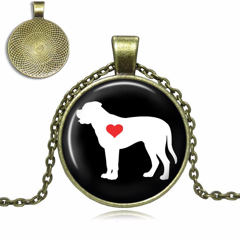 English Mastiff Love Glass Dome Necklace