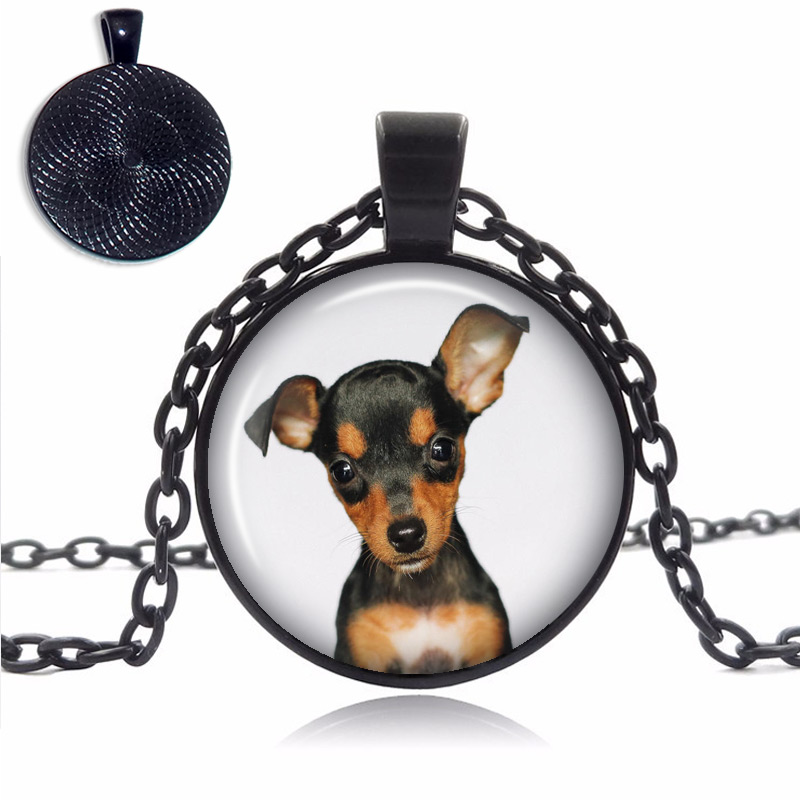 Miniature Pinscher Glass Dome Necklace