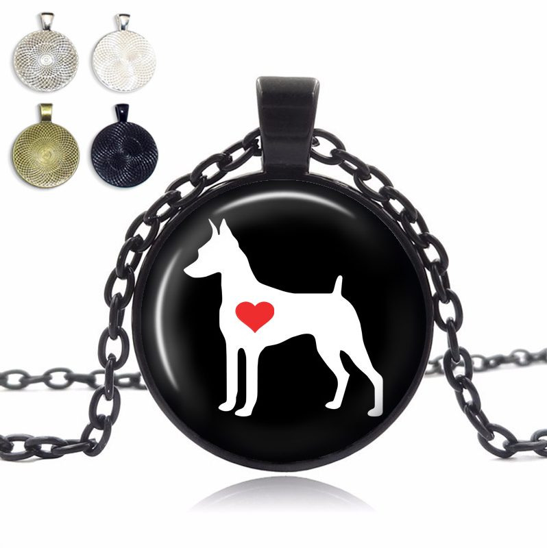 Miniature Pinscher Love Glass Dome Necklace