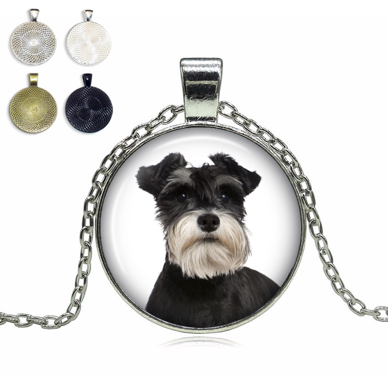 Miniature Schnauzer Glass Dome Necklace