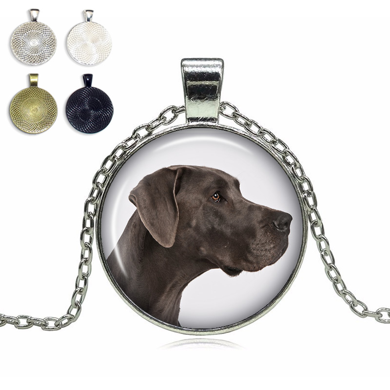 Natural Ears Great Dane Glass Dome Necklace