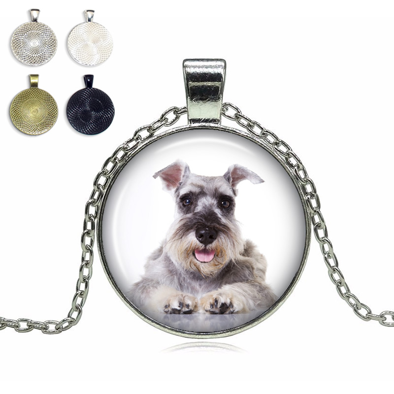 Natural Ears Schnauzer Glass Dome Necklace