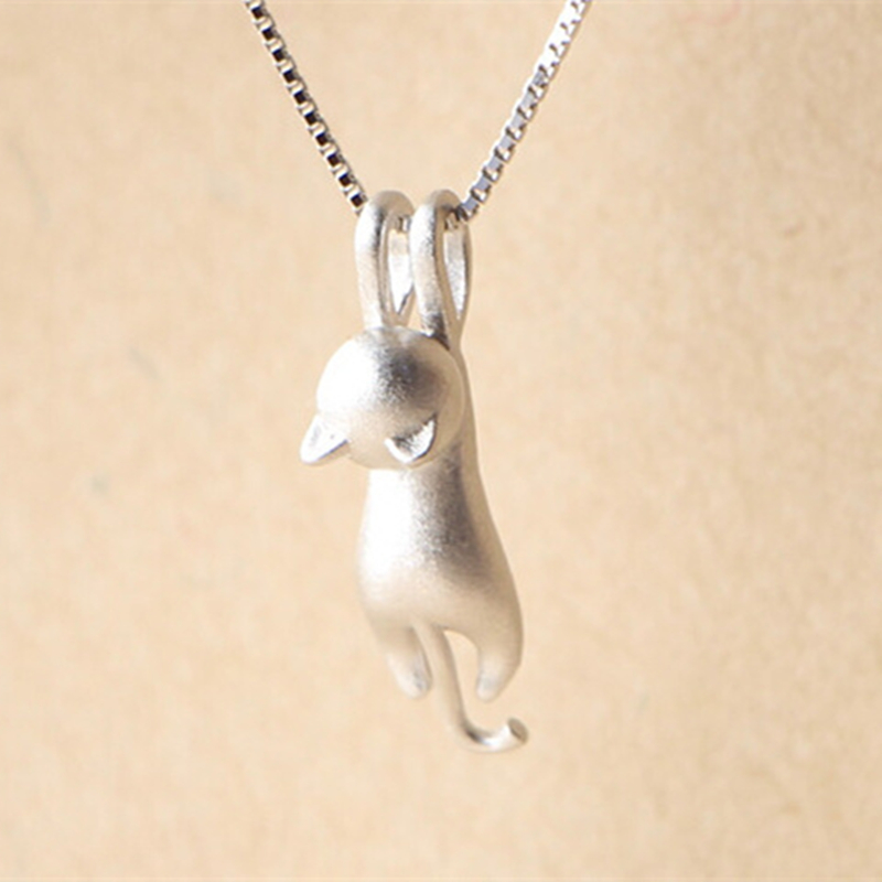 Sterling silver kitty necklace top pet gifts sterling silver kitty necklace aloadofball Image collections