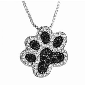 Paw Shape Crystal Rhinestone Necklace