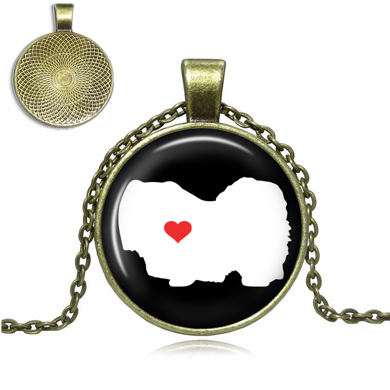 Pekingese Love Glass Dome Necklace