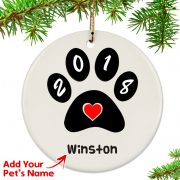 Personalized 2018 Paw Print Ornament