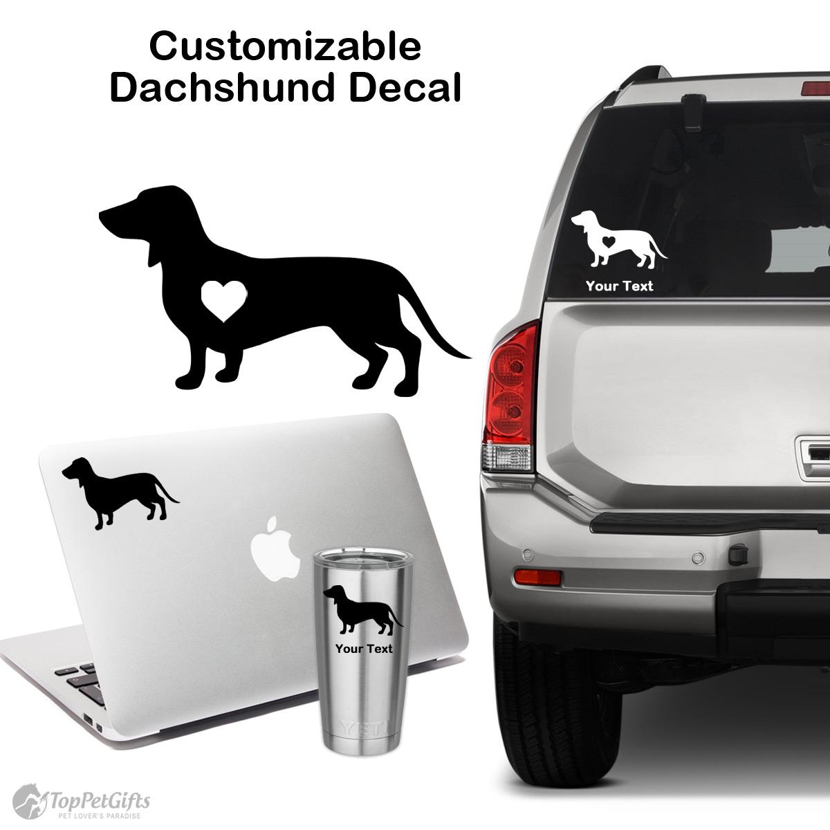 Dachshund With Name Decal Dachshund Sticker Dog Mim Decal Car Etsy