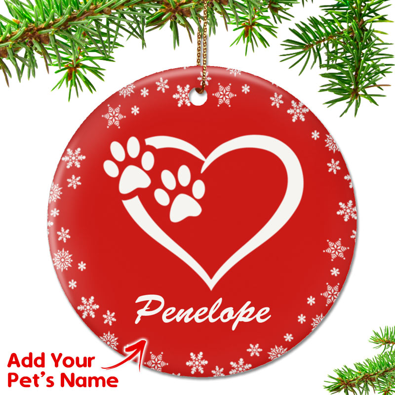 Christmas Heart.Personalized Heart And Paws Ornament